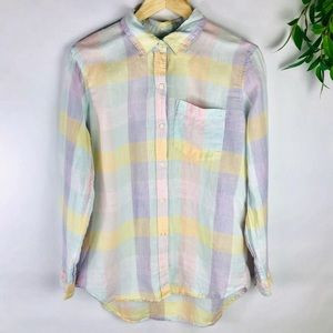 Gap Pastel Checker Long Sleeve Linen Top